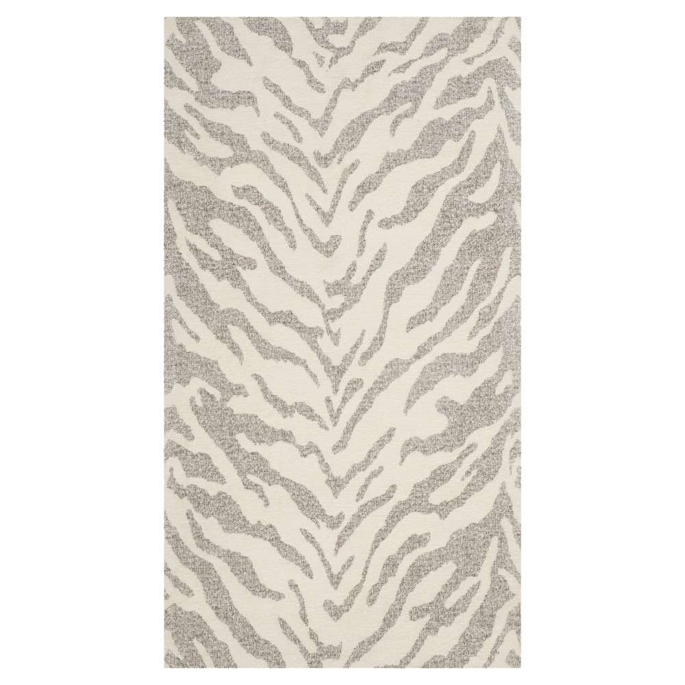 Light Gray/Ivory Animal Print Woven Accent Rug 2'3X4' - Safavieh