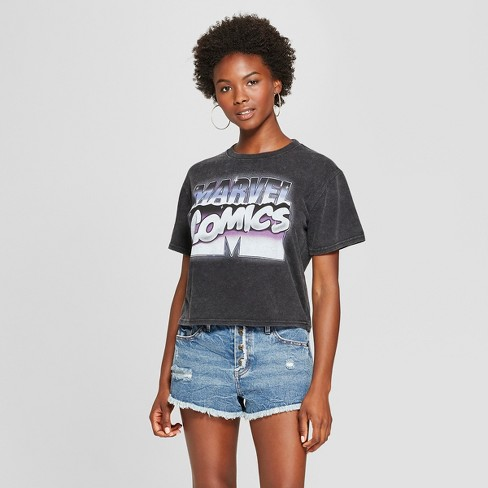 Women's Marvel Short Sleeve Comics Cropped Graphic T-Shirt (Juniors') Charcoal S - image 1 of 2