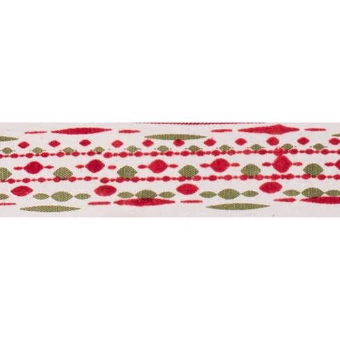 "2.5"" Ivory with Red-Green Bead Print Christmas Ribbon 30ft - image 1 of 1"