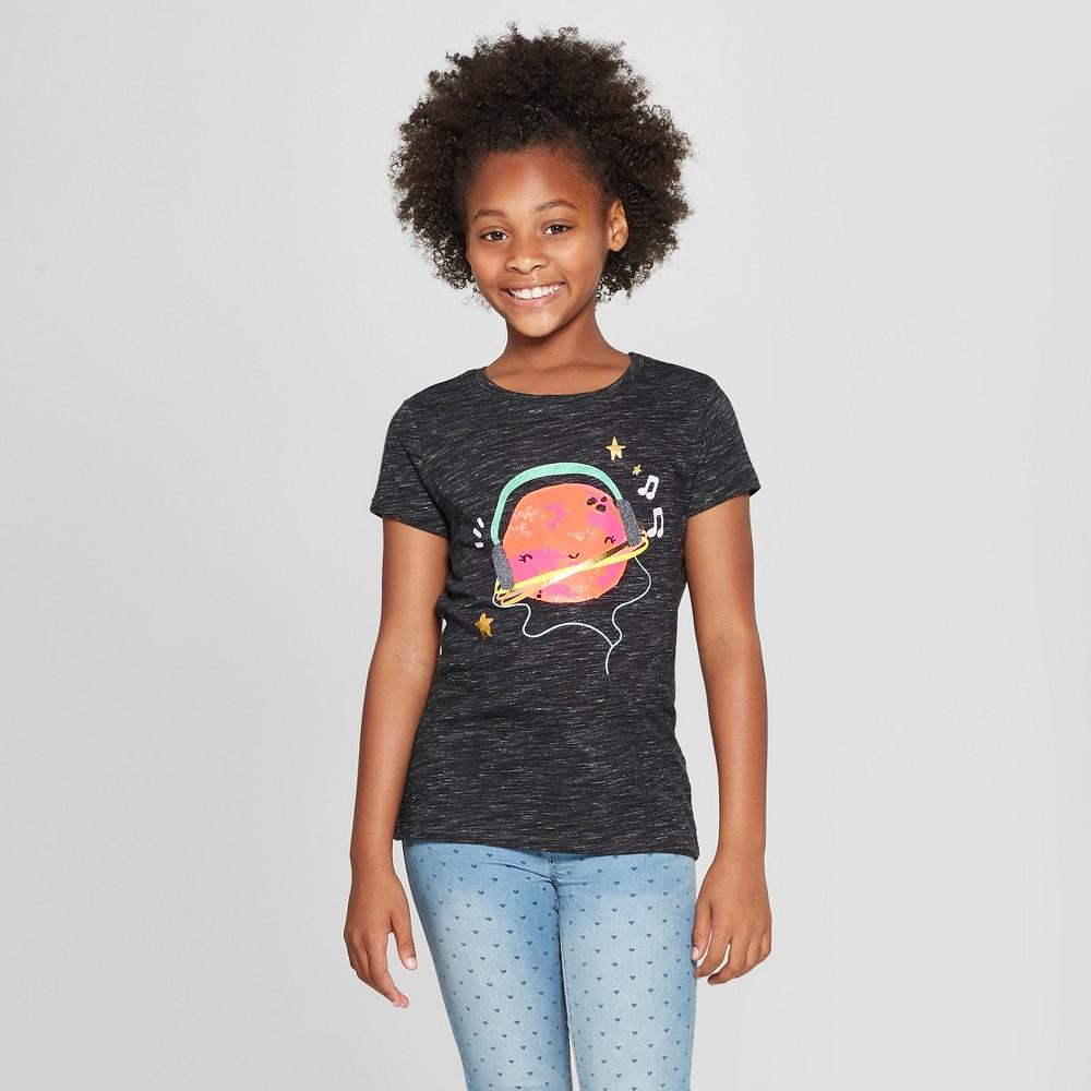 Girls' Short Sleeve Headphones Graphic T-Shirt - Cat & Jack Black S