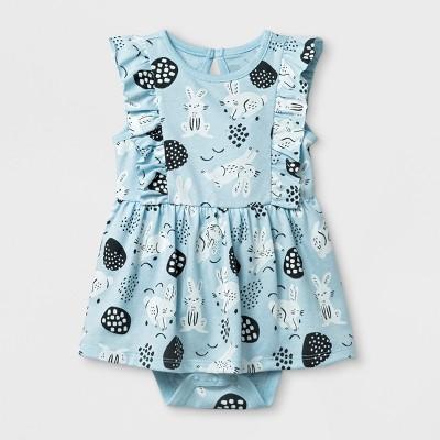 Baby Girls' Easter Bunny Ruffle Dress - Cat & Jack™ Light Blue 6-9M