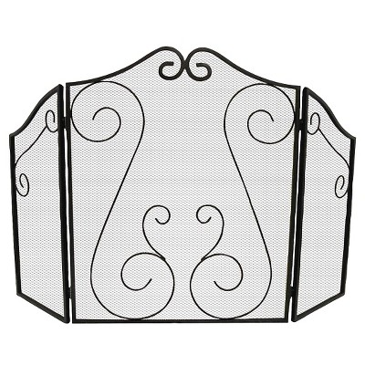 Shelter Logic Scrollwork Fireplace Screen - Black