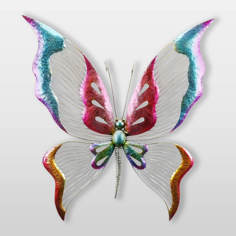 "Image of ""4"""" Dazzling Metal Butterfly Wall Decor With Glossy Finish Figurine - Alpine Corporation, White Blue Red"""