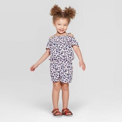Toddler Girls' Leopard Spot Romper - Cat & Jack™ Pink 12M