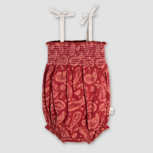 c530739dce Burt s Bees Baby® Girls  Organic Cotton Flowery Paisley Smocked Bubble  Romper - Red
