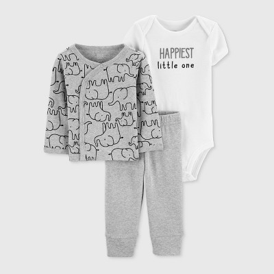 Baby 3pc Top and Bottom Set - Just One You® made by carter's Gray/White 9M