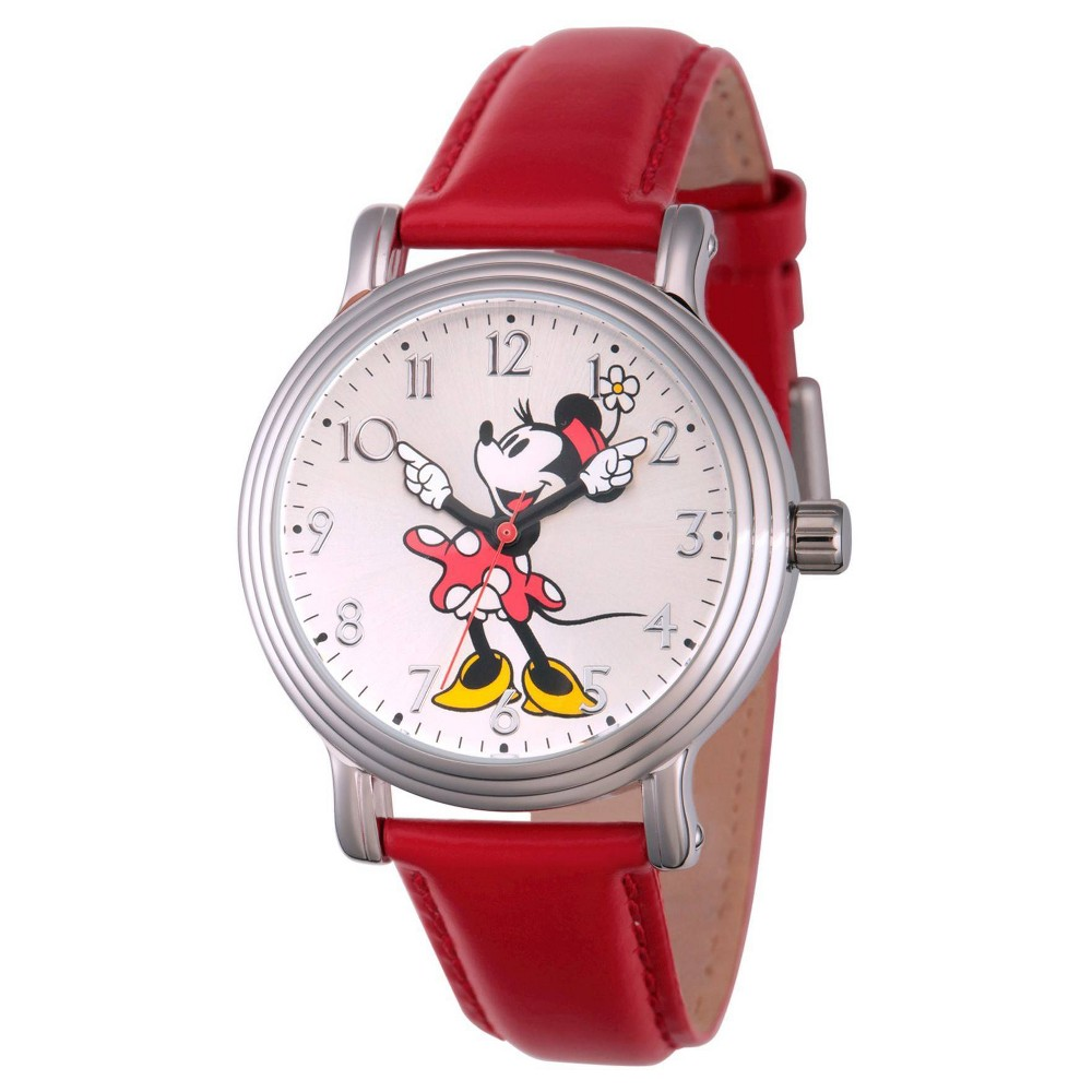 Women S Disney Minnie Mouse Silver Vintage Alloy Watch Red