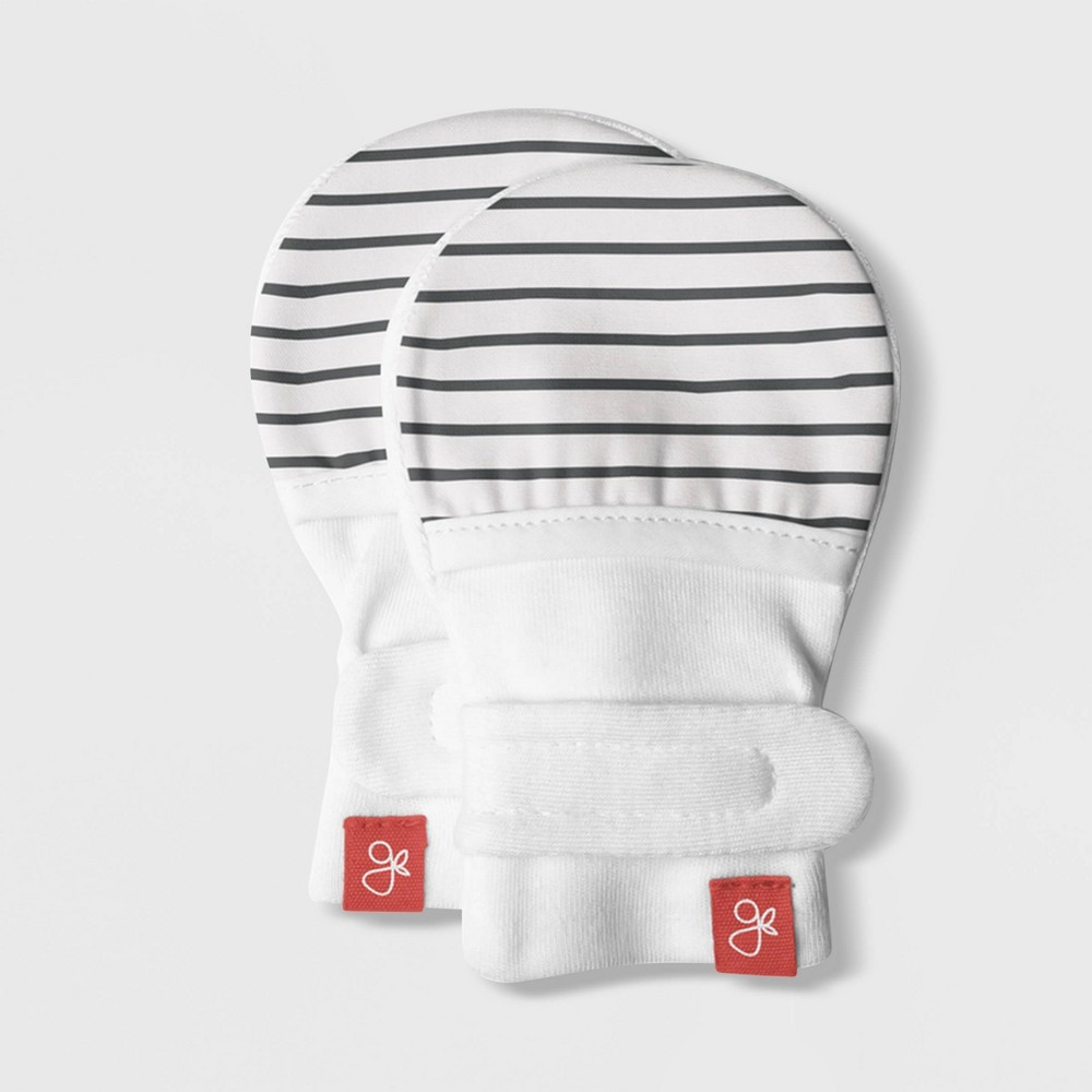 Image of Goumikids Baby Organic Cotton Striped Mitts - Gray 0-3M, Kids Unisex, Size: Small, Gray White