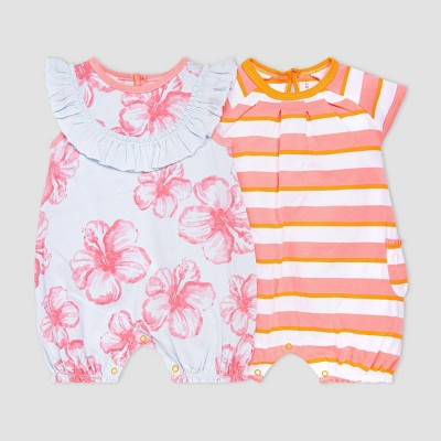 Burt's Bees Baby® Baby Girls' 2pk Hibiscus Print and Striped Bubble Romper Set - Pink/Light Blue