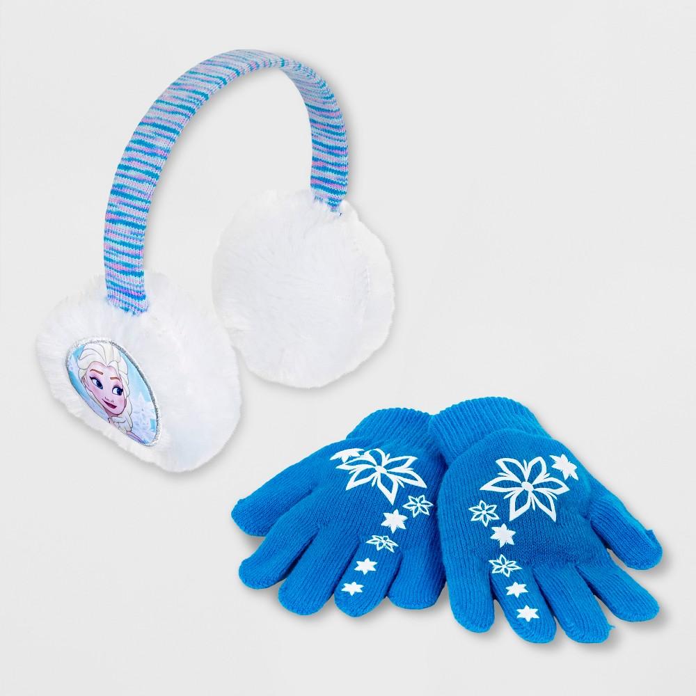 Girls' Frozen Elsa Earmuffs & Gloves Set - Turquoise One Size