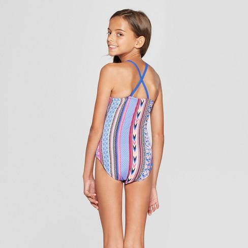 Girls  One Piece Swimsuit - Art Class™ Blue   Target dd7d22703201