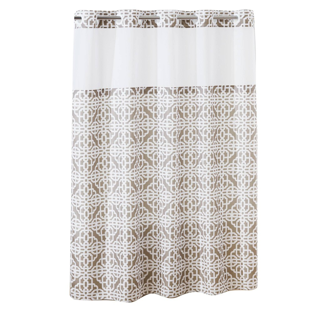 Image of Branca Trellis Shower Curtain with Liner Taupe (Brown) - Hookless