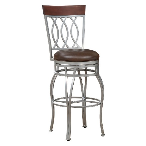 "Bella Bonded Leather Swivel Barstool -30""- Silver - American Heritage Billiards - image 1 of 4"