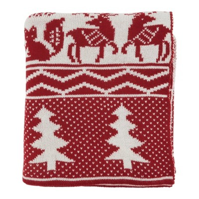 "50""x60"" Reindeer and Christmas Tree Knit Throw Blanket Red - Saro Lifestyle"