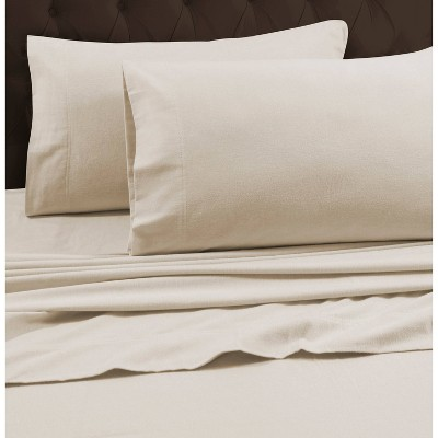 Queen Heavyweight Flannel Solid Fitted Sheet Ivory - Tribeca Living
