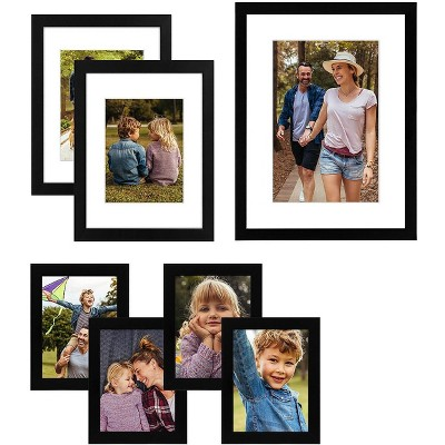 Americanflat Picture Frame in Black MDF / Shatter Resistant Glass Horizontal and Vertical Formats - Pack of 7