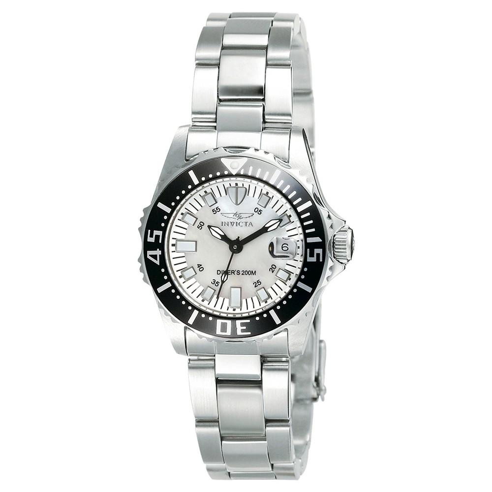 Women's Invicta 2958 Pro Diver Quartz 3 Hand White Dial Link Watch - Silver