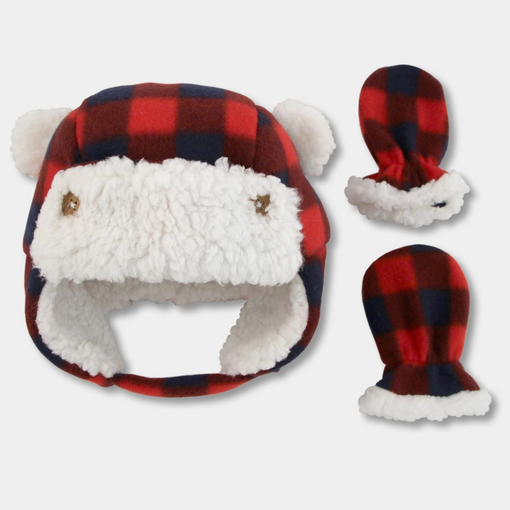 Baby Boys' Plaid Trapper Hat and Mitten Set - Cat & Jack Red 0-3M