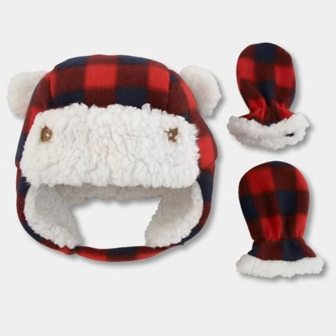 Baby Boys  Plaid Trapper Hat And Mitten Set - Cat   Jack™ Red   Target 8689ea88de9