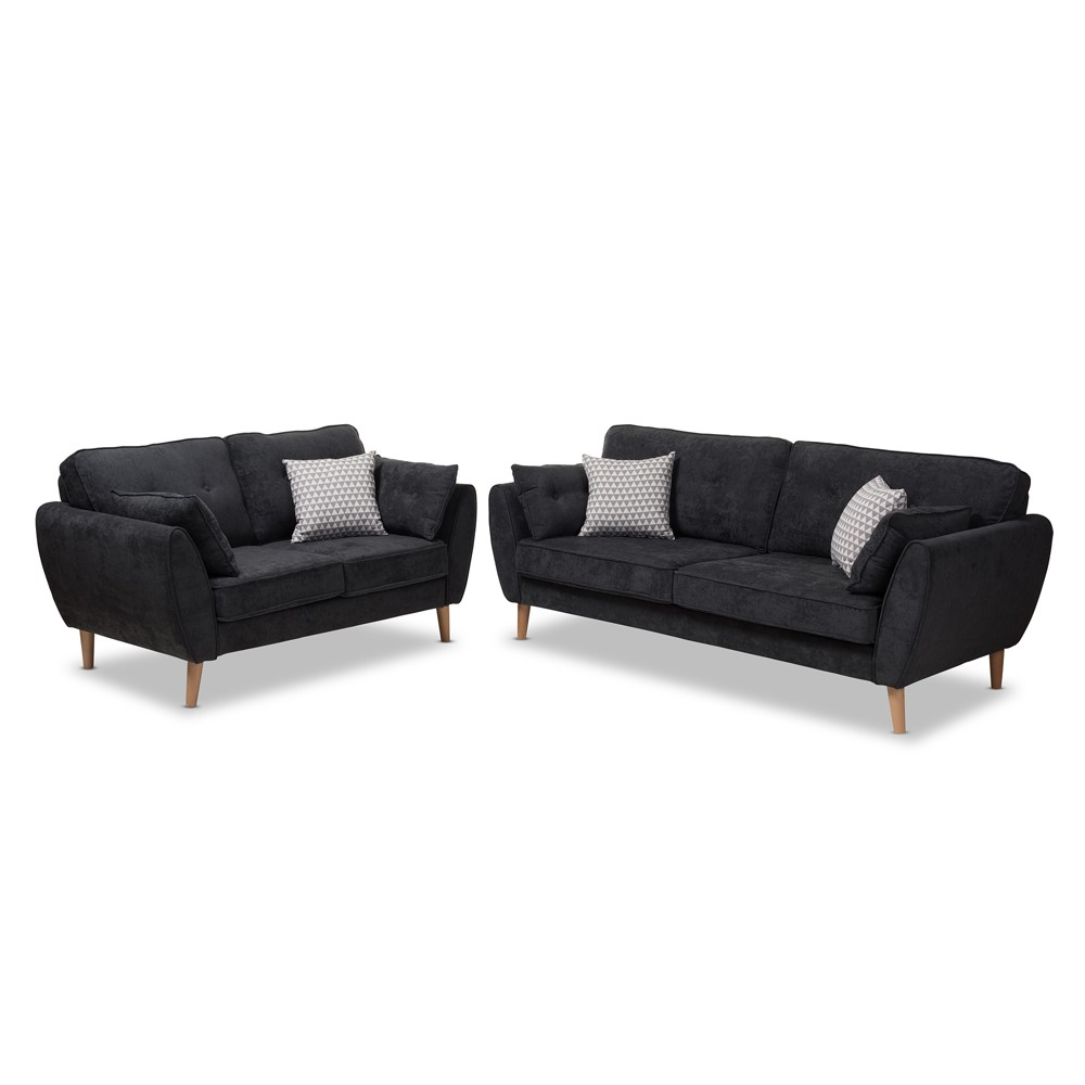 Image of 2pc Miranda Mid Century Modern Fabric Upholstered Living Room Set Dark Gray - Baxton Studio