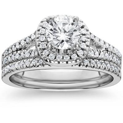 Pompeii3 1ct Halo Diamond Engagement Ring Set Split Shank Bridal Wedding 14K White Gold