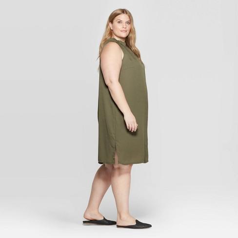 Women\'s Plus Size Sleeveless Mock Turtleneck Halter Dress - Prologue ...