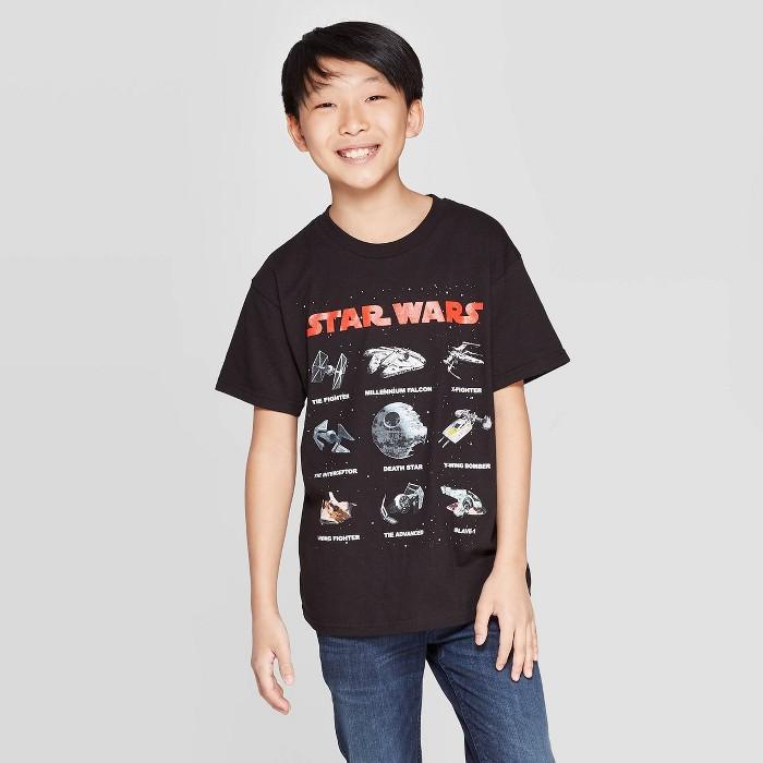 Boys' Star Wars Star Wars Ships Short Sleeve T-Shirt - Black - image 1 of 3
