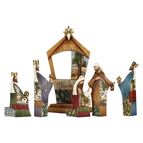 Wood Look Patterned Nativity Set 6 Piece Target