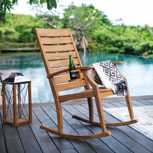 Logan Teak Patio Rocking Chair with Cup Holder - Light Brown - Cambridge Casual - image 1 of 4