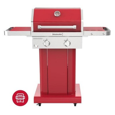 KitchenAid 2-Burner Gas Grill with Grill Cover 720-0891CACO - Red