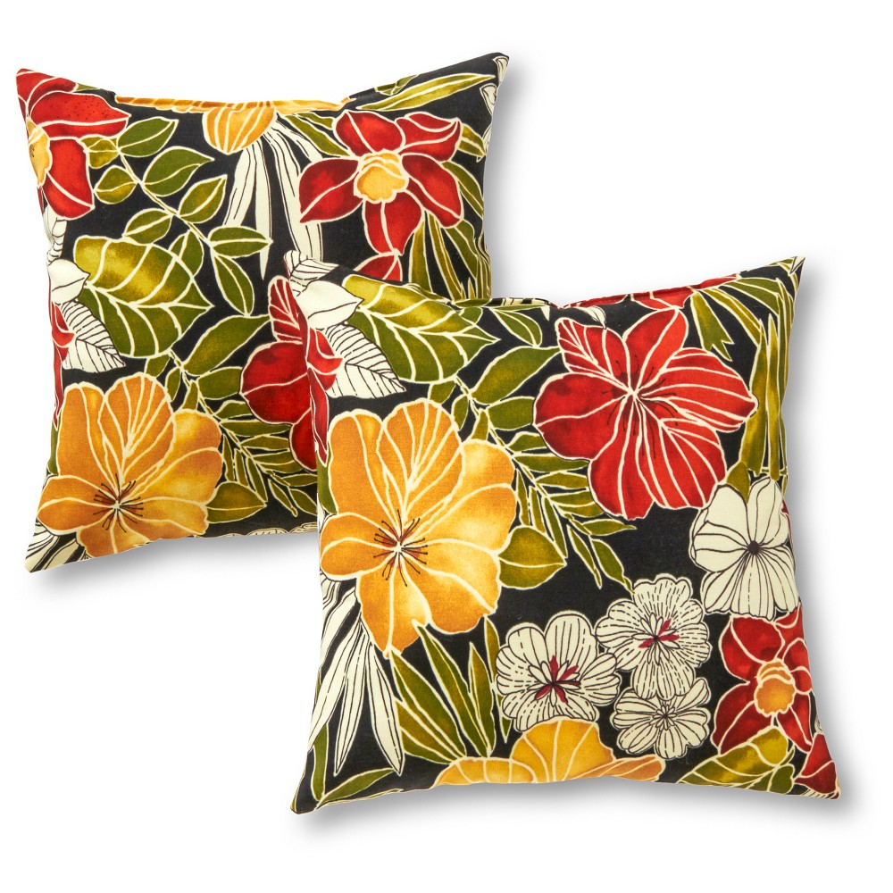 Image of Outdoor Accent Pillow Set - Aloha Black - Greendale Home Fashions
