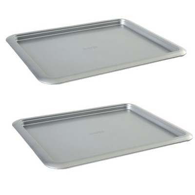 Norpro Non Stick 16.5 Inch Carbon Steel Rimmed Full Baking Cookie Sheet, Silver (2 Pack)
