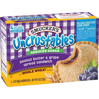 Smucker's Uncrustables Frozen  Whole Wheat Peanut Butter & Grape Jelly Sandwiches - 8oz/4ct