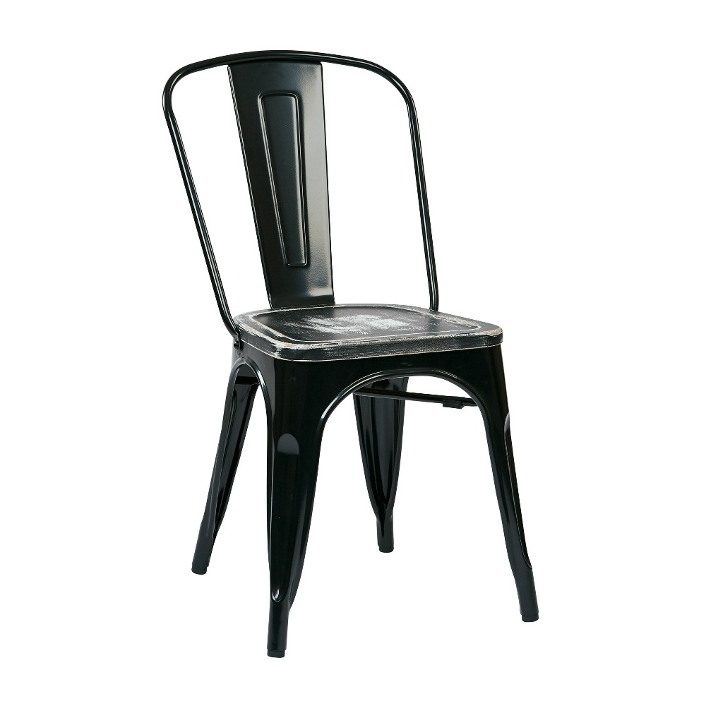 Set Of 4 Bristow Metal Chair Vintage Wood Ash Crazy Horse Black Osp Home Furnishings