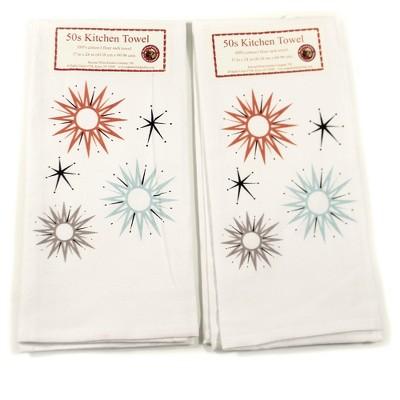"Tabletop 24.0"" Mid Century Modern #2 Towel Set 100% Cotton Starburst Set/2 Red And White Kitchen Company  -  Kitchen Towel"