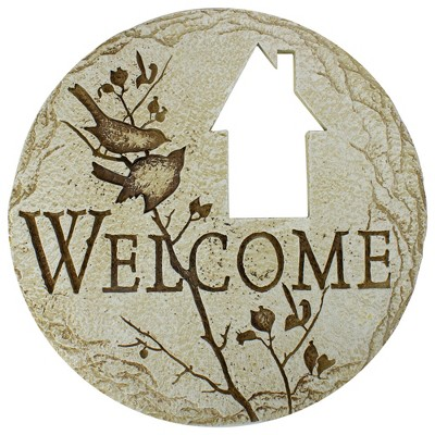 "Roman 12"" Country Cottage Cut-Out ""Welcome"" Outdoor Patio Garden Stepping Stone - Brown"
