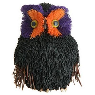 "Raz Imports 6.5"" Sisal Owl Halloween Decoration - Black/Purple"
