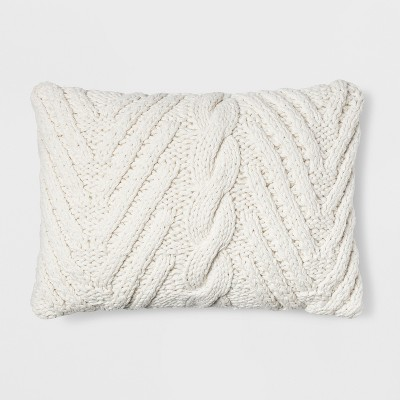 Chunky Knit Lumbar Throw Pillow Cream - Threshold™