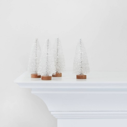 4pc White Bottle Brush Trees Decorative Figurines - Wondershop™ - image 1 of 4