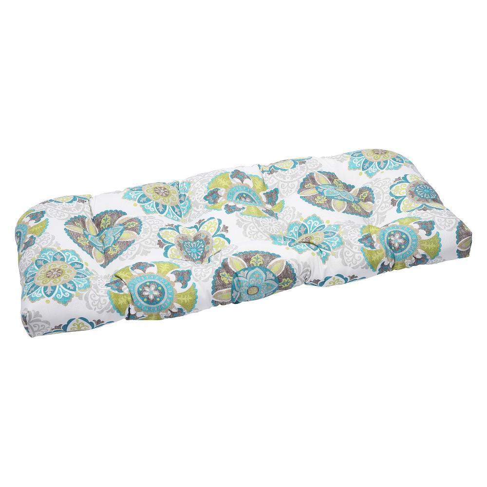 Pillow Perfect Allodala Outdoor Wicker Loveseat Cushion Blue