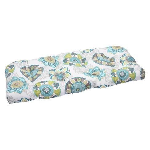 Pillow Perfect Allodala Outdoor Wicker Loveseat Cushion - Blue - image 1 of 3