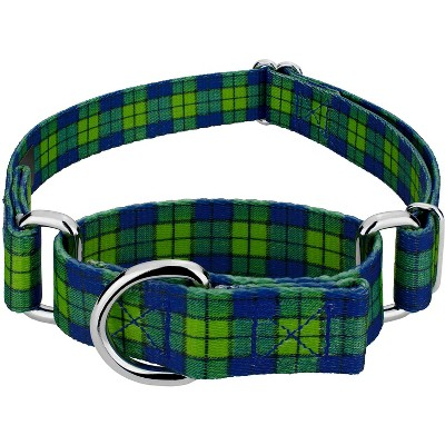 Country Brook Petz® Blue and Green Plaid Martingale Dog Collar