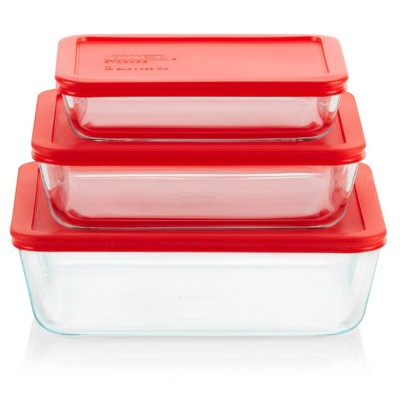 Pyrex Simply Store 6pc Glass Rectangular Food Storage Container Set