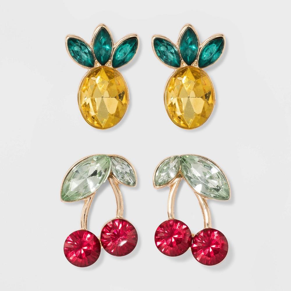 Sugarfix by BaubleBar Fruity Stud Earring Set, Women's, Multicolor Rainbow