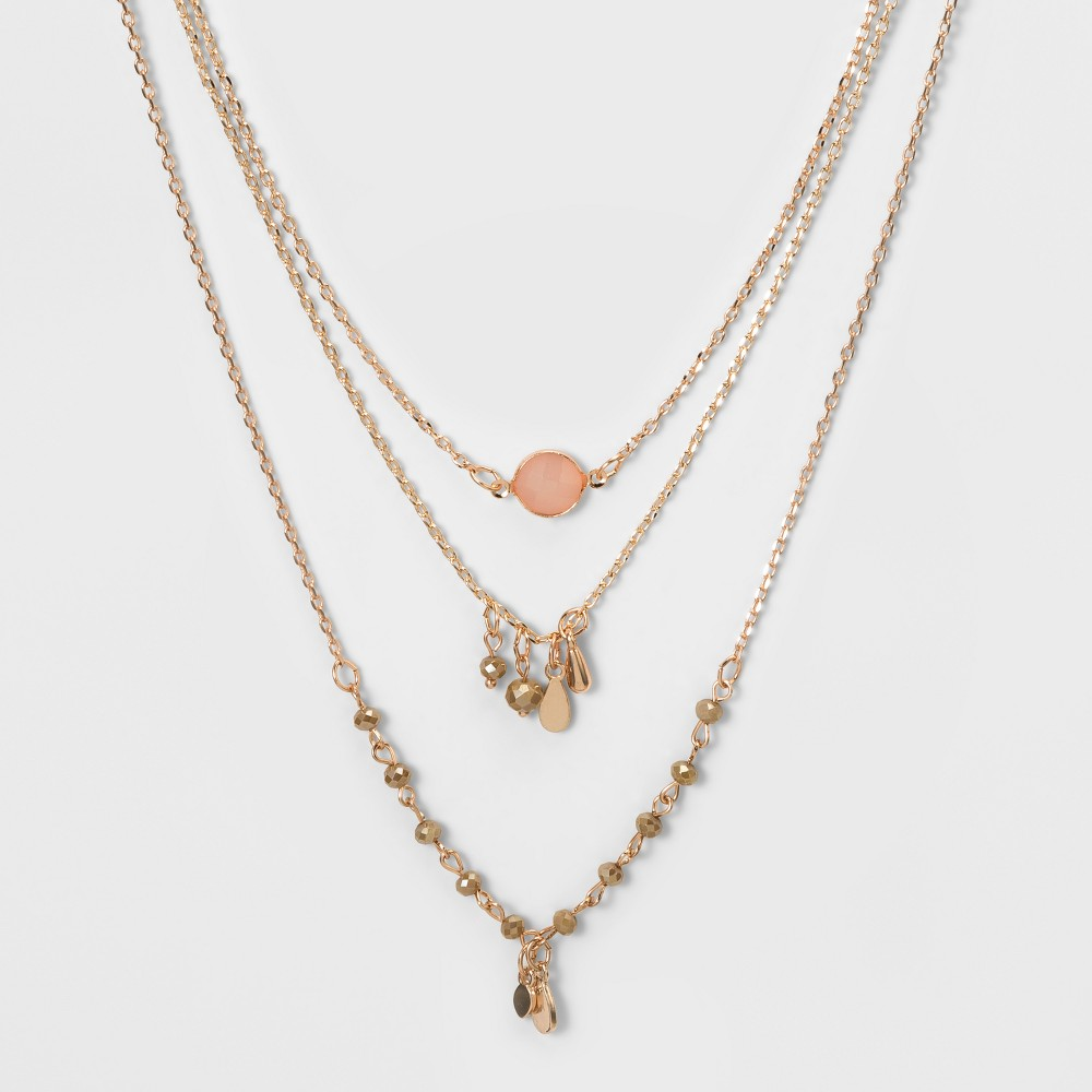 Choker with Channel, Glitzy Beads, and Stampings - Rose Gold