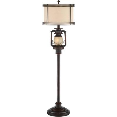 Barnes and Ivy Rustic Industrial Floor Lamp with Nightlight Glass Bronze Earthy Fabric Drum Shade Living Room Bedroom Office