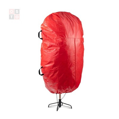 OSTO Christmas Tree Storage Bag for Assembled Trees Up to 9 ft. Tall; 2 Carry Handles, Durable Zipper, and Drawstring Hem. Waterproof, Tear Proof Red
