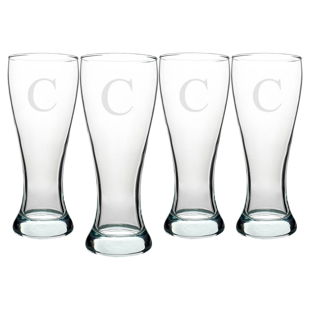 Cathy's Concepts 20oz Personalized Pilsner Glass Set - C - Set of 4, Clear