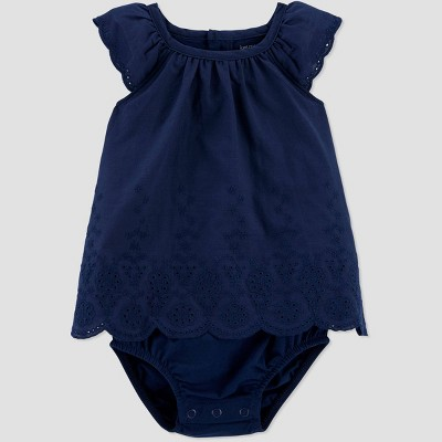 Baby Girls' Sunsuit Romper - Just One You® made by carter's Navy 6M