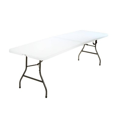 8' Fold-in-Half Blow Molded Folding Table White - Room & Joy